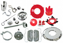 EMPI 8653 VW BUG ENGINE CHROME & RED SHROUD TIN KIT